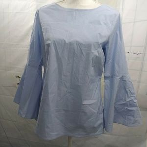 Ann Taylor Blue bell sleeve Blouse Top Small